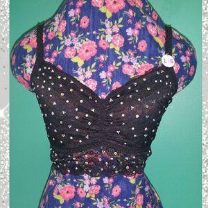 NEW PINK Lace Studded Jeweled Bralette Bra Black L